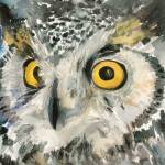 """Great Horned Owl, watercolor painting"" by schulmanart"