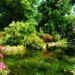 """Tropical Garden by the Lake"" by susansartgallery"