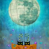 Cat & moon IK Art Prints & Posters by Wall Art by AnaCBStudio