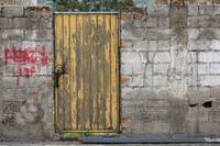 Yellow Wood and Steel Door