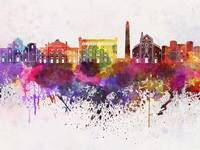 Bari skyline in watercolor background
