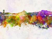 Coimbra skyline in watercolor background