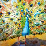 """Preening Peacock, watercolor bird art"" by schulmanart"
