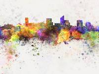 Wichita skyline in watercolor background