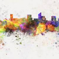 """Wichita skyline in watercolor background"" by Paul Rommer"