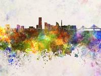 Yokohama skyline in watercolor background
