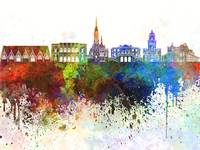 Gothenburg skyline in watercolor background