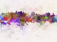 Havana skyline in watercolor background