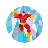 Superhero Running Punching Low Polygon