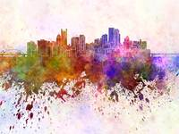 Pittsburgh skyline in watercolor background