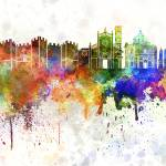 """Prato skyline in watercolor background"" by paulrommer"