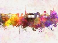 Saint Petersburg skyline in watercolor background