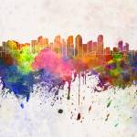 """San Diego skyline in watercolor background"" by paulrommer"