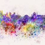 """Tallinn skyline in watercolor background"" by paulrommer"