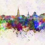 """Toulouse skyline in watercolor background"" by paulrommer"