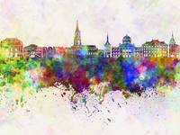 Toulouse skyline in watercolor background