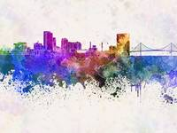Toledo OH skyline in watercolor background