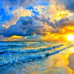 """beautiful blue ocean sunset and waves"" by eszra"