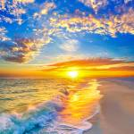 """golden sunset beach blue sky"" by eszra"