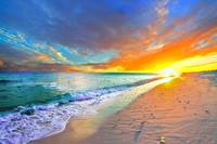 orange sunset beach turquoise ocean