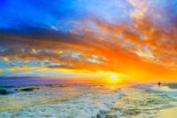 beautiful ocean sunset waves red orange blue sky