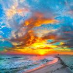 """colorful ocean sunset  red blue vertical panorama"" by eszra"
