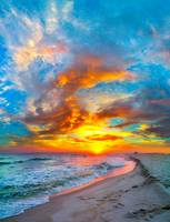 colorful ocean sunset  red blue vertical panorama