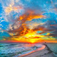 colorful ocean sunset  red blue vertical panorama Art Prints & Posters by eszra tanner