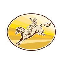 Rodeo Cowboy Riding Horse Oval Retro