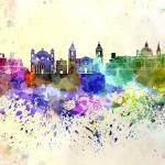 """Valletta skyline in watercolor background"" by paulrommer"