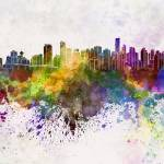 """Vancouver skyline in watercolor background"" by paulrommer"