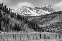 Valley and Rocky Mountains in Black and White