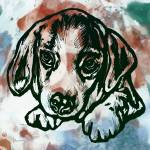 """Dog stylised pop modern etching art portrait"" by visualharbour"