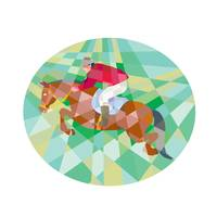 Equestrian Show Jumping Oval Low Polygon