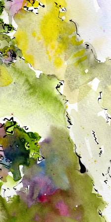 Abstract Green Calligraphy and Watercolor