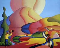 Dreamscape with couple and cottages by Alan Kenny