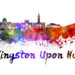 """""""Kingston Upon Hull skyline in watercolor"""" by paulrommer"""