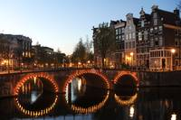 Amsterdam The Netherlands Night scene on the Amste