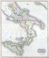 Vintage Map of Southern Italy (1814)
