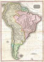 Vintage Map of South America (1818)