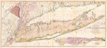 Vintage Map of Long Island New York (1842)