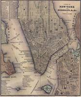 Vintage NYC and Brooklyn Map (1847)