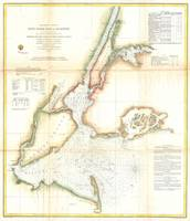 Vintage Map of New York City and NY Harbour (1857)