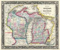 Vintage Map of Michigan and Wisconsin (1860)