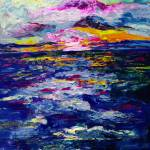 """Stormy Sunset Oil Painting"" by GinetteCallaway"