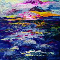 """Stormy Sunset Oil Painting"" by Ginette Callaway"