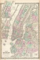 Vintage Map of NYC and Brooklyn (1865)