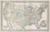 Vintage Map of The United States (1867)