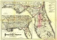 Vintage Florida Railroad Map (1882)