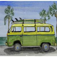 VW Surf  Bus ...re2 Art Prints & Posters by whitey gilroy